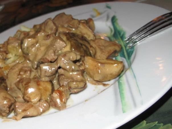 Куриная печенка в сливках рецепт