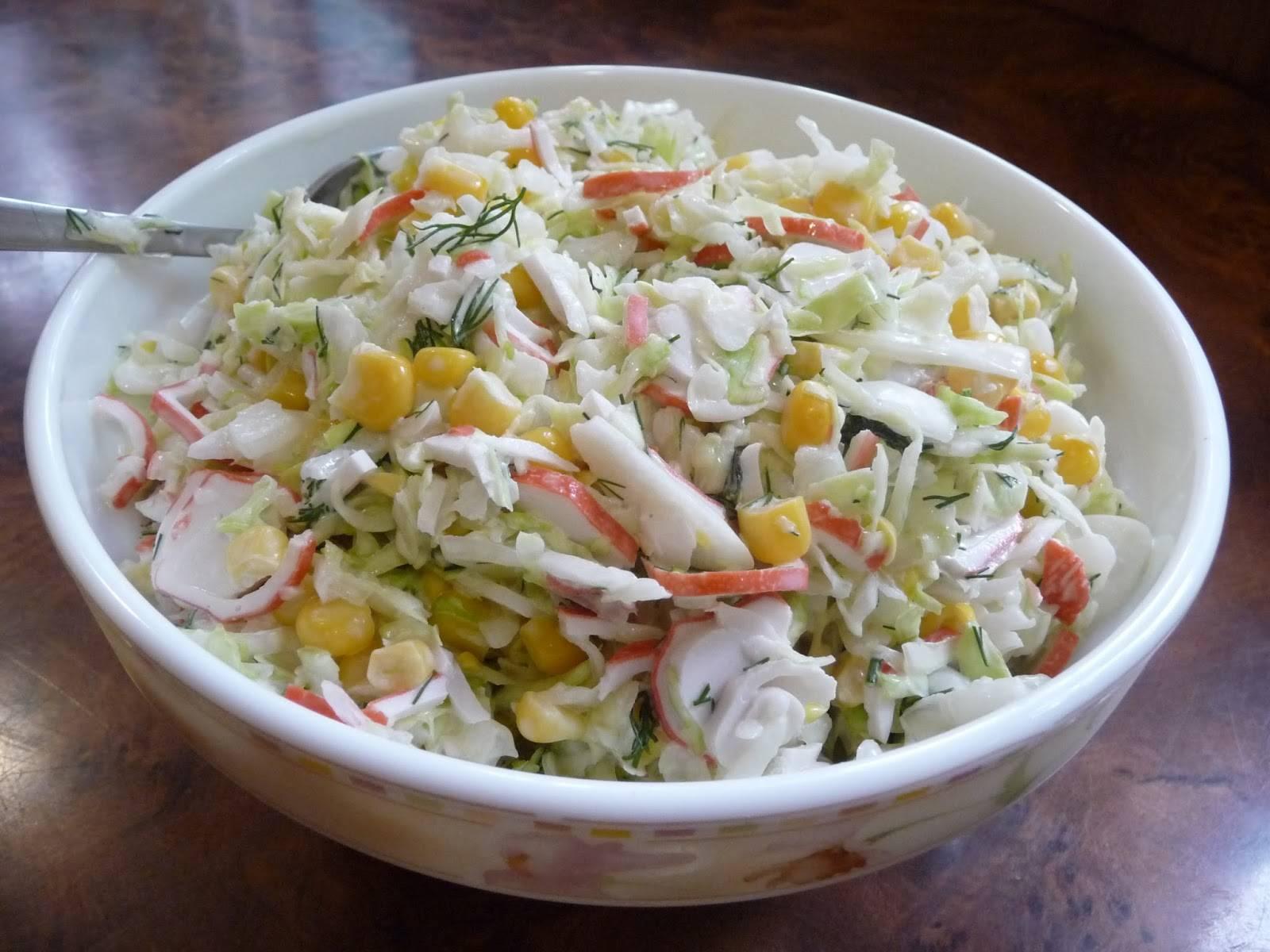 Салат с и кукурузой и капустой рецепт с пошагово