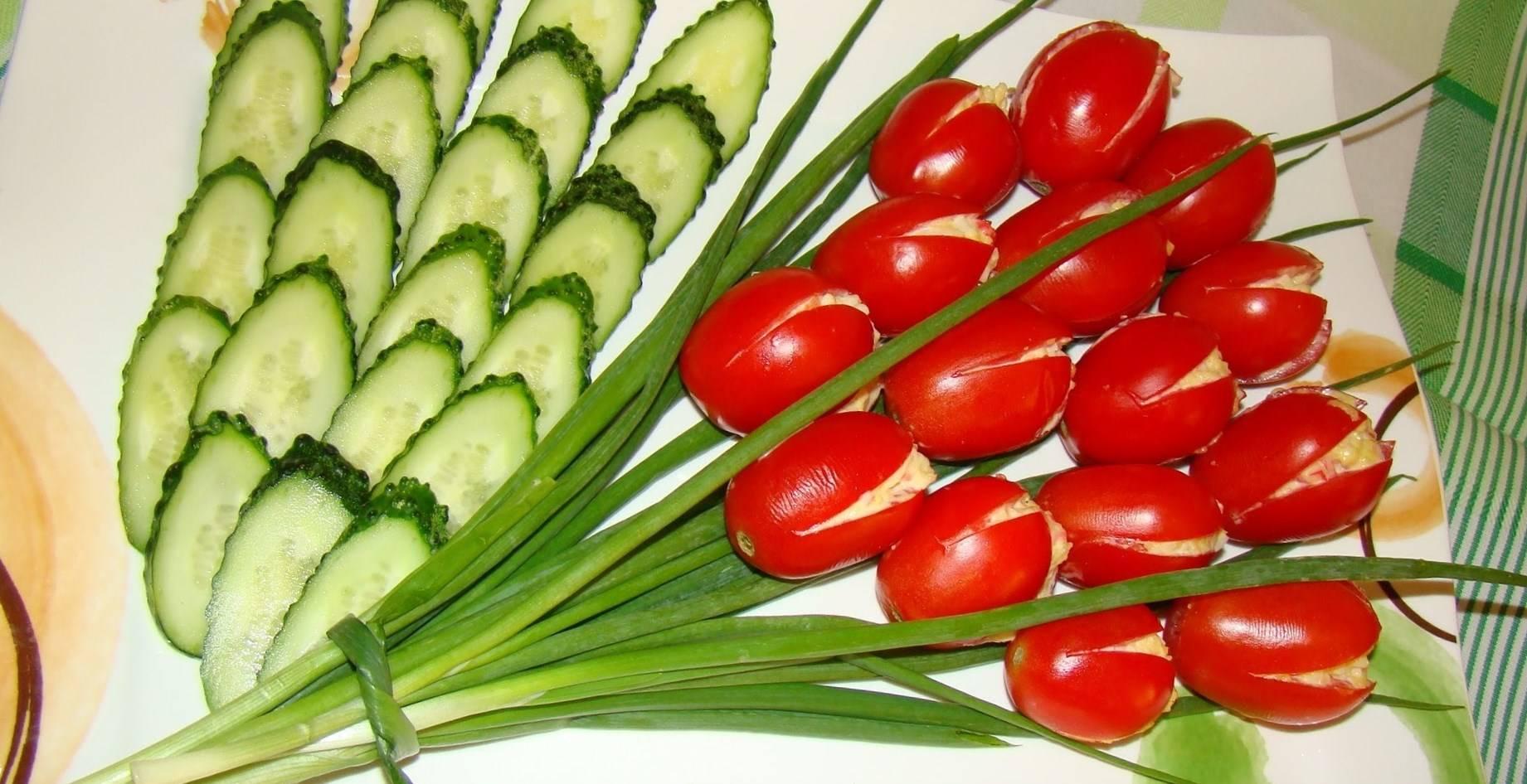 Салат тюльпаны из помидор с