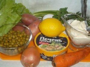Салат с печенью трески cлоеный - 0