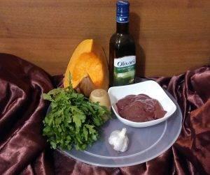 Теплый салат с тыквой, рукколой и печенью - 0