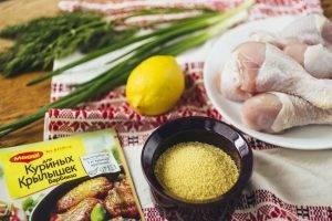 Куриные голени, глазированные в соусе барбекю, с кускусом и зеленью - 0