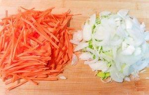 Печень с гречкой и овощами в сливках - 1