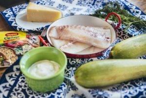Треска, запеченная с кабачками под сырной корочкой - 0