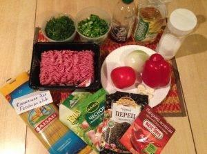 Спагетти с фаршем и овощами - 0