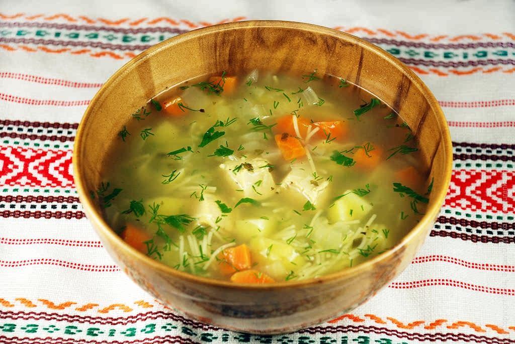 Куриный суп с лапшой без картофеля