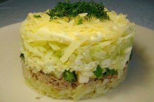 Салат с черемшой, грибами и рыбными консервами - 2