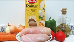 Каннеллони с курицей и овощами под сырным соусом - 0