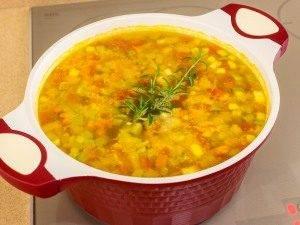 Суп с овощами, макаронами и куриным филе - 8