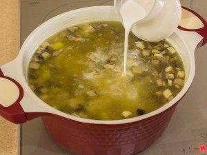 Суп с грибами, куриным филе и сливками - 5