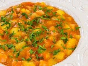 Картофель, тушенный с копченым мясом - 8