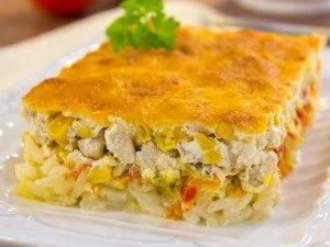 Запеканка с рисом, куриным филе, кукурузой и овощами - 7