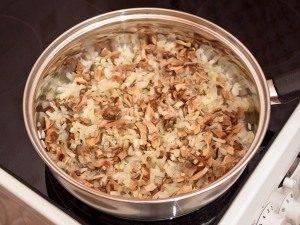 Перепела с рисом, белыми грибами и грибным соусом - 1