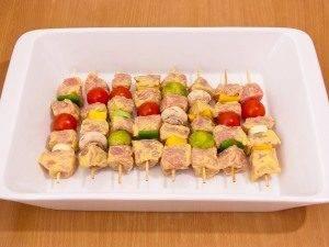 Шашлычки из свинины с овощами и грибами - 4