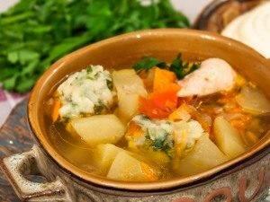 Суп с цыпленком, овощами и клецками с зеленью - 3