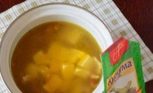 Суп с копченой курицей и сыром - 1