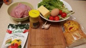 Острый куриный Цезарь с яичным соусом - 0