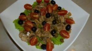 Салат с шампиньонами, маслинами и фетой - 1