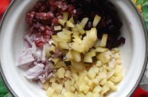 Овощной салат с сырокопченой колбасой - 0