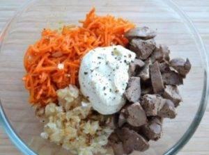 Салат из куриной печени с морковью по–корейски - 1